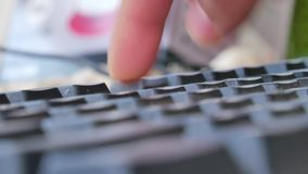 Hand typing on keyboard. Close up hand typing on keyboard stock video footage