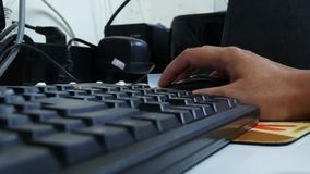 Hand typing on keyboard. Close up Hand typing on keyboard stock video