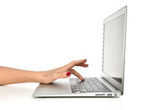 Hand typing on keyboard computer laptop with blank copy space sc Royalty Free Stock Image