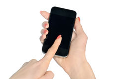 Hand typing phone Stock Photography