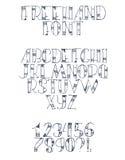 Hand uit de vrije hand getrokken doopvont met Engelse brieven van a aan z, aantallen van 0 tot 9 Alfabetopeenvolging met punten,  Stock Foto