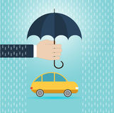 Hand with umbrella protect car, insurance concept. Flat  illustration Royalty Free Stock Images