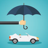 Hand with an umbrella that protects the car. Royalty Free Stock Images