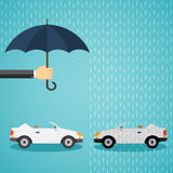 Hand with an umbrella that protects the car. Stock Photos