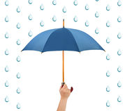 Hand with umbrella and rain Royalty Free Stock Photography