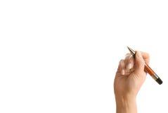 Hand und eine Feder getrennt auf Weiß Lizenzfreie Stockbilder