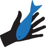 Hand-und Fisch-Illustration Lizenzfreie Stockfotografie