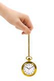 Hand und Retro- Uhr Lizenzfreie Stockfotos