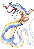 Hand und Schlange Stockbilder