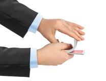 Hand und Spielkarten Stockbild