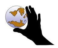 Hand und Welt Stockbild