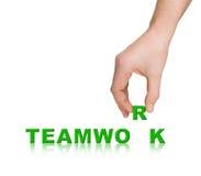 Hand und Wort Teamwork Stockfotografie