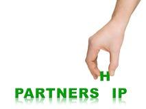 Hand und Wort Teilhaberschaft stockfoto