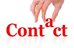 Hand- und Wortkontakt getrennt lizenzfreies stockbild