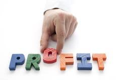 Hand-und Wortprofit auf weißem Hintergrund Lizenzfreies Stockbild