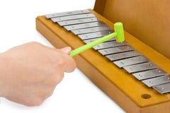 Hand und Xylophone Lizenzfreie Stockfotos
