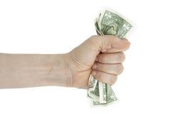 Hand und zerknittertes Geld Lizenzfreie Stockbilder