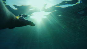 The hand under the water stretches towards the sun. Beautiful rays illuminate it. Concept - need help, rescue. HD slow motion video stock footage