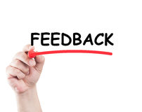 Hand underlining feedback word Royalty Free Stock Photos