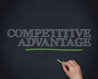 Hand underlining the word competitive advantage in green Stock Images