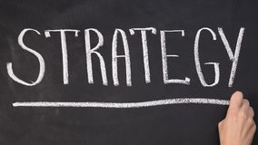 Hand underlining word strategy on blackboard, business motivation, start-up