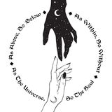 Hand of universe reaching out to human hand. Inscription is a maxim in hermeticism and sacred geometry. As above, so below. Black work, flash tattoo or print vector illustration