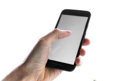 Hand unter Verwendung des leeren weißen Schirm-Handy-Presse-Fingers lokalisiert stockbild