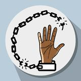Hand up with chain to celebrate freedom. Vector illustration Stock Photos