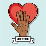 Hand up with heart and ribbon massage to juneteenth celebrate. Vector illustration Royalty Free Stock Photography