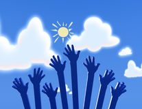 Hand up on sky background Royalty Free Stock Images