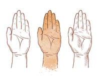 Hand up vector logo. chiromancy, palmistry or palm icon Royalty Free Stock Photos