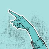 Hand up- victory. Drawing of a blue hand showing victory or peace sign- vector illustration. Communication concept Stock Photo
