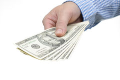 Hand and us dollar Royalty Free Stock Photo