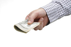 Hand and us dollar Royalty Free Stock Images