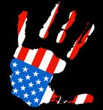 Hand USA flag. Grunge ink hand with the color of USA flag royalty free illustration