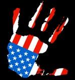 Hand USA flag. Grunge ink hand with the color of USA flag Stock Photography