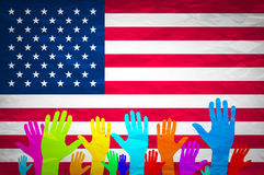 Hand with USA flag. Grunge USA Flag. american, america, symbol, national, background, Stock Photo
