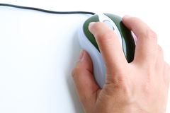 Hand use computer mouse. The image of  hand using computer mouse Royalty Free Stock Photography