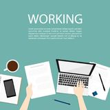 Hand use notebook working business top view vector royalty free stock images