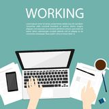 Hand use notebook working business top view vector vector illustration