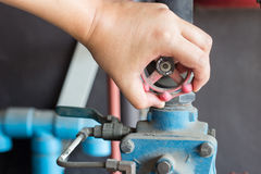 Hand use spin walv in matchine industry Stock Image