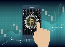 Hand use tablet with Bitcoin Online and icon on screen, Digital. Business concept Royalty Free Stock Images