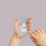 Hand use Touch screen mobile phone with email icon. As concept Stock Photo