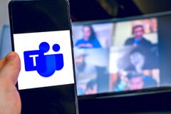 Free Hand Use Videoconference App Icon Of Microsoft Teams On Smartphone. Stock Photos - 181523053
