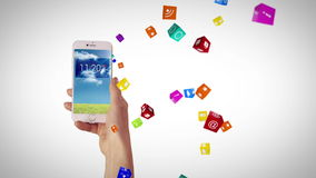 Hand using apps on smartphone stock footage