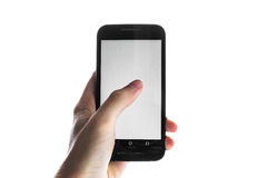 Hand Using Blank White Screen Cell Phone Press Finger Isolated royalty free stock photography