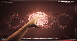 Hand using digital interface screen stock footage
