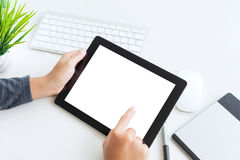Free Hand Using Digital Tablet Finger Touch Blank Screen Royalty Free Stock Images - 84291669