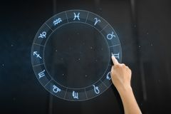Hand using interactive panel with signs of zodiac. Technology, astrology and horoscope concept - hand using interactive panel with signs of zodiac over night sky stock image