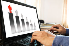 Hand using lap top, with bar graph, competition and leadership concept Royalty Free Stock Photo